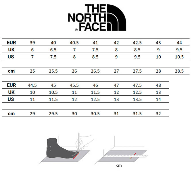 guia-tallas-the-north-face-calzado-hombre