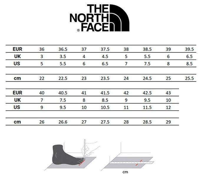guia-tallas-the-north-face-calzado-mujer
