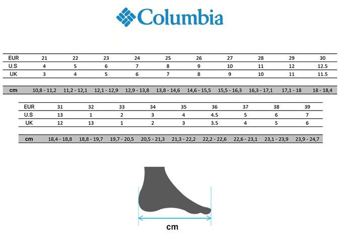 tallas-columbia-calzado-nino